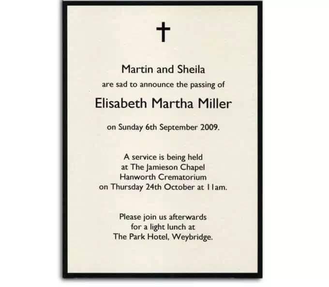 funeral invitation letter